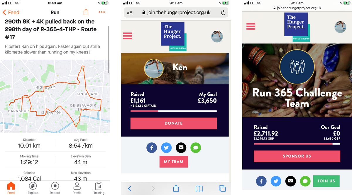 Screenshots from Ken's phone showing his running and fundraising progress